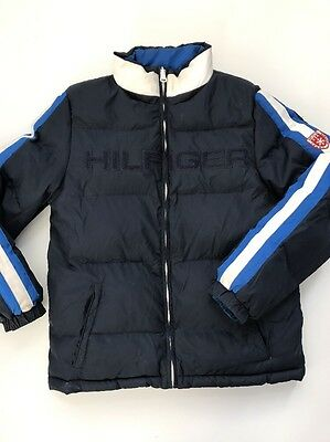 Tommy Hilfiger Mens Size Small Blue and Black reversible bomber winter jacket