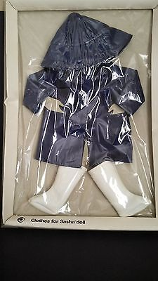 Vintage Sasha Doll England Navy Raincoat +Hat + White Boots In Original Box