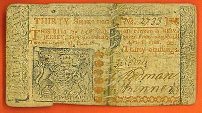 1762 THIRTY SHILLINGS *SCARCE* NEW JERSEY Colonial!
