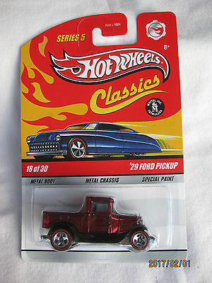 Hotwheels Classics Series 5,'29 Ford Pickup Red Chrome Mint On Card .