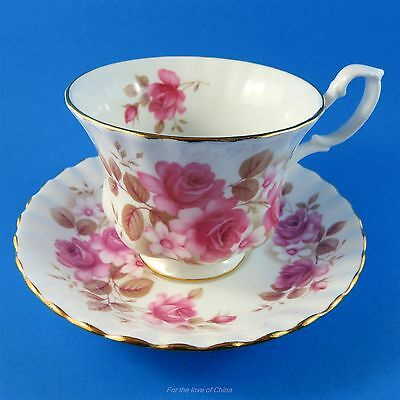 Royal Albert Pink Roses and White Flowers Tea Cup and Saucer Set