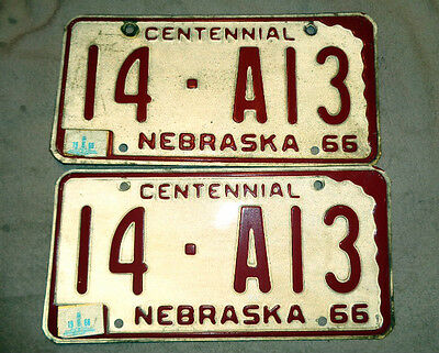 1966 196 1968 Nebraska License Plate Plates Pair 14-A13  Adams County Low Number