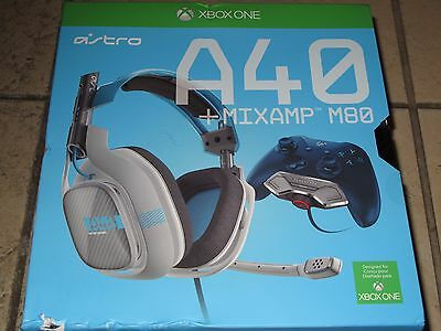Astro A40 HEADSET + MIXAMP M80 Blue Headband Headsets for Microsoft Xbox One NEW
