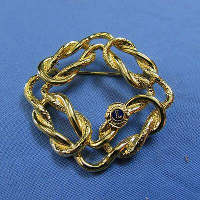 Gold Square Chain Link Lions Club Brooch (17018171A)
