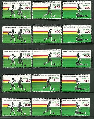 Mexico 1278-80 Mnh World Cup 82 X 5 Sets Scv 15.00