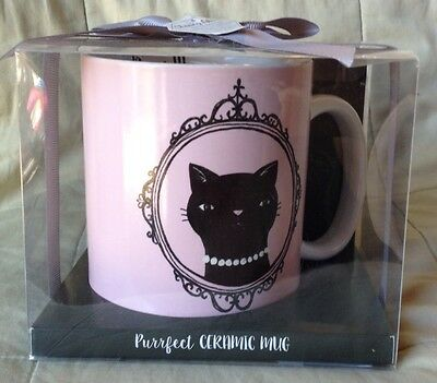 New Black Cat Ceramic Pink & Black Coffee Tea Mug Chasing Lola Purrfect!