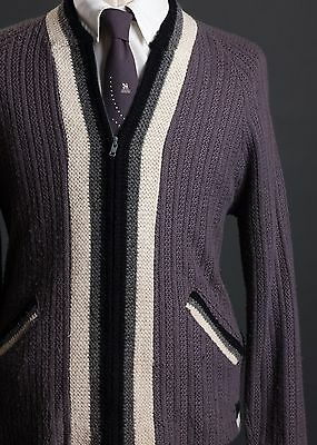 Vintage 1950s Lavender White Grey Black Full Zip Sweater Cardigan