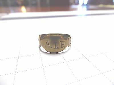 WW1 AIF ANZAC BRASS TRENCH ART RING M.M WINNER 3696 SGT R.BOURNE 50th BTN A.I.F