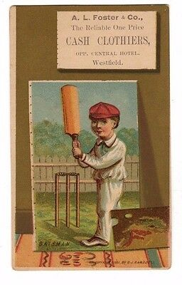 A.L.Foster & Co. Clothiers,Westfield,Mass.Victorian Trade Card (Baseball Theme)
