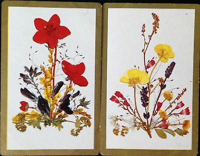 VINTAGE - SWAP/PLAYING CARDS x 2.(pair) WILD FLOWERS C.1970's