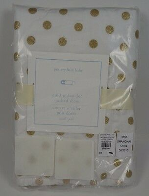 Pottery Barn Kids Baby Gold Polka Dot Quilted Sham Small 12 X 16
