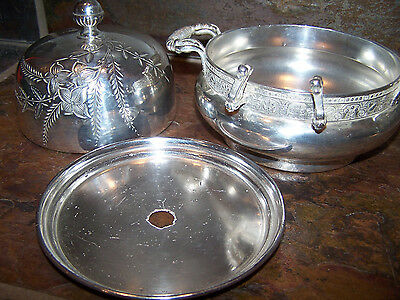 ANTIQUE 3 pc. BARBOUR BUTTER DISH HOLDER SILVER PLATED Domed Covered Lid & Liner
