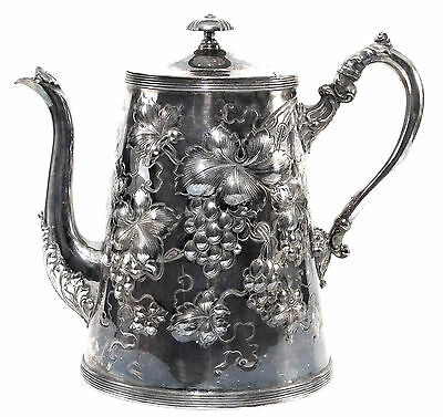 Antique Victorian Silverplated Coffee Pot Chased Leaves & Repousse Grapes
