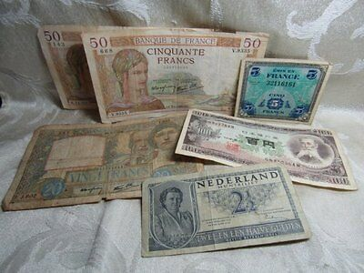 Pre-WWII to WWII French, Japanese, Netherlands Currency Notes Lot Of 6
