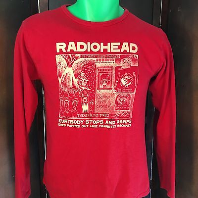 Vintage Radiohead Concert World Tour 2000 X TOUR Red Long Sleeve Size Small