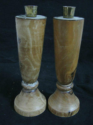 JUDAICA:A PAIR OF HAND MADE OLIVE WOOD JEWISH CANDLESTICKS,ISRAEL 60's CAFEB 630