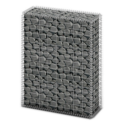 S# New Gabion Wall 4mm Strong Metal Gabions Basket Cage 100x80cm Galvanized Stee