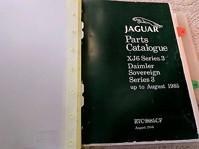 Jaguar Daimler Series 3 XJ6 Parts Catalouge Manual