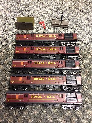 Hornby BR Travelling Post Office Mail Coaches x5 Job Lot. Model Railway OO Gauge