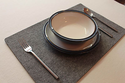 ONLY GREY Large Felt Placemats 17 x 11 inch. Rectangle Place Mat Set of 6