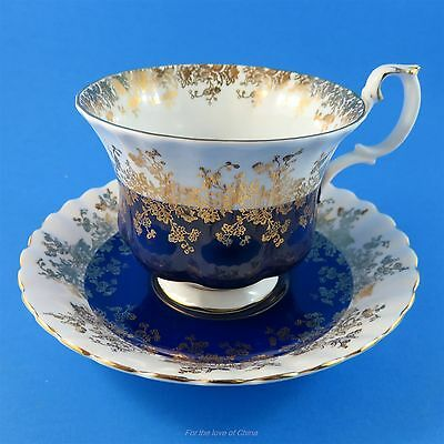 Royal Albert Cobalt Blue Regal Series Tea Cup and Saucer Set