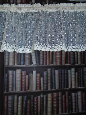 Vintage polka dot coton cafe curtain Nottingham Cream lace  bris-bise Gustavian