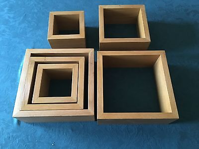 Set of 6 Rectangle Floating Wall Storage oak display Cubes Shelves