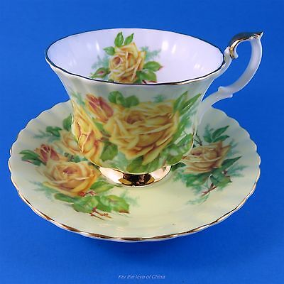 Royal Albert Yellow Tea Rose on Pale Yellow Background Tea Cup and Saucer Set