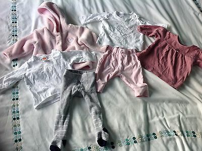 0-3 months baby girls clothes bundle, tops, trousers, tights, jacket, pink