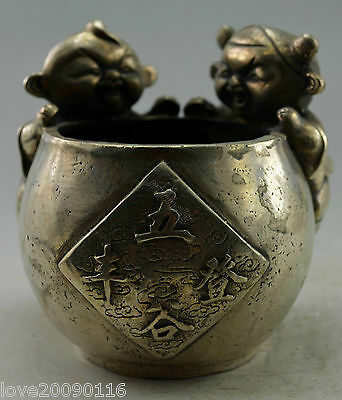 Collectible Decor Old Handwork Silver Plate Copper Carved Pair Child Climb Pot