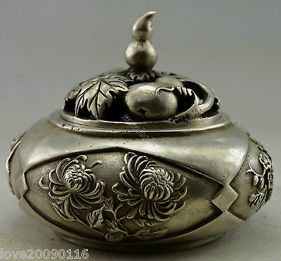 Collectible Decor Old Handwork Silver Plate Copper Chrysanthemum Incense Burner