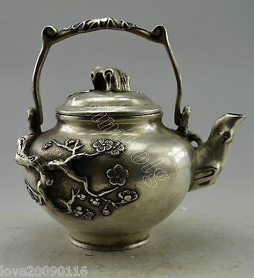 Asia Collectible Decorated Old Handwork Silver Plate Copper Wintersweet Tea Pot