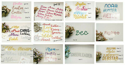 Iron on fabric transfer CUSTOM Personalised NAME, Glitter, Solid, DIY Baby gift