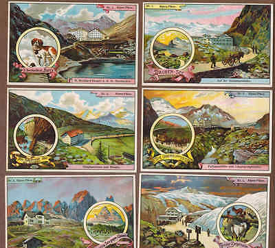 SWISS ALPS, MOUNTAIN PASSES: Complete Set of RARE Victorian Trade Cards (1900)