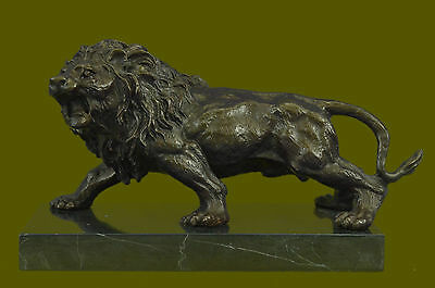 Angry Roaring Signed Barye Hot Cast Bronze Marble Sculpture Statue Figurine DB