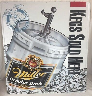 Miller Genuine Draft beer sign Kegs Sold Here Metal tin tacker Bar advertising