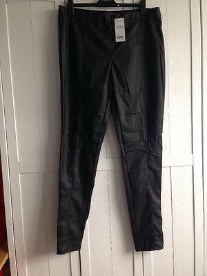BNWT Next Ladies Size 20 Tall Black Leather Look Leggings Trousers