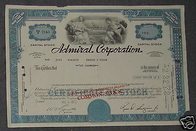 Admiral Corporation 1970 200 Shares