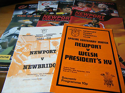 9  Newport Rfc /gwent Dragons  Home Rugby Programmes 1974 - 2011 Vgc All Listed
