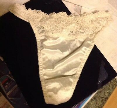 Vintage Victoria's Secret Second Skin Satin Thong Panties Glossy Shiny White Med