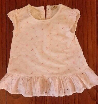 18-24 months flower design white and pink top