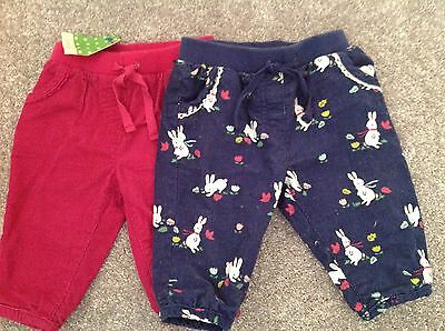 Baby Girl John Lewis 2X Cord Trousers Size 0-3 Months New With Tags