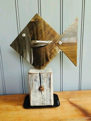 New Metal Fish Nautical Art Driftwood Abstract Sculpture Home Decor Gift Present