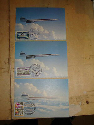 Concorde postcards 3 of Orignal items 1st day covers, 2x1974 & 1x1973