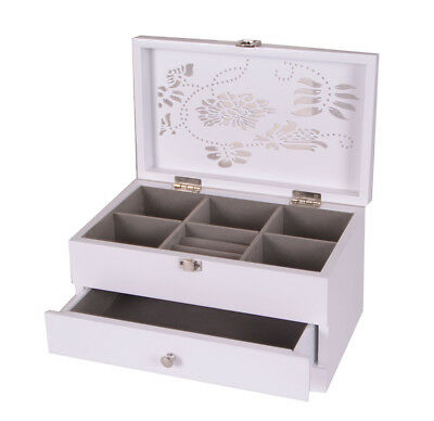 Large Wooden Jewellery Box Two Drawers Trinket Mirror White