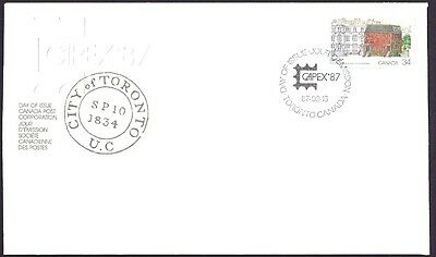 Canada  FDC  # 1122    TORONTO'S  FIRST POST OFFICE    1987    New & Unaddressed