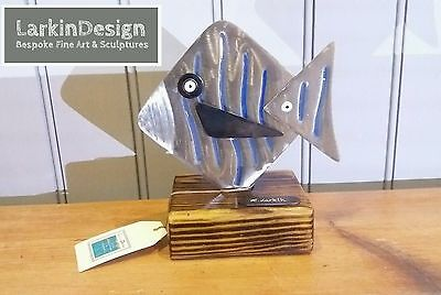 New~Metal Fish Nautical Art Abstract Sculpture Home Decor Gift Present Seaside