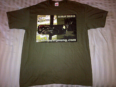 Neil Young T-SHIRT 2000 Music In Head Tour OFFICIAL NEW Never Worn GREEN Mirror