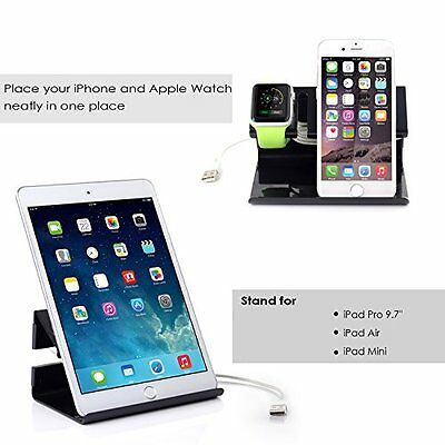 3in1 BLACK Stand Charger Charging Dock Station For APPLE WATCH + iPHONE