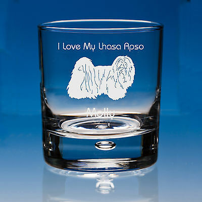 Lhasa Apso Dog Lover Gift Personalised Engraved Whisky Glass - Birthday